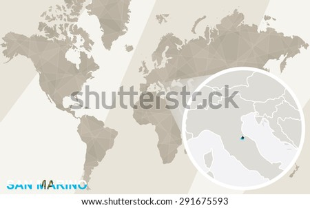 Zoom on San Marino Map and Flag. World Map.  - stock vector