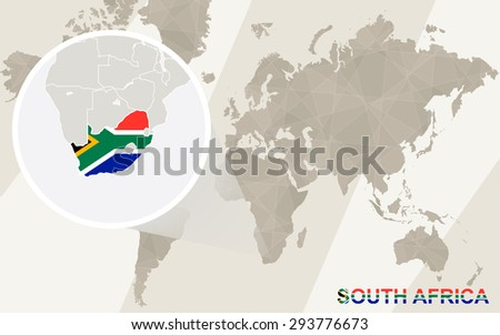 Zoom on South Africa Map and Flag. World Map.  - stock vector