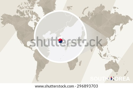 Zoom on South Korea Map and Flag. World Map.  - stock vector