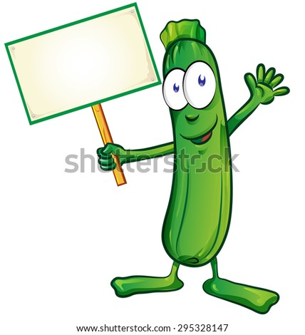 zucchini  cartoon with signboard isolated on white background - stock vector
