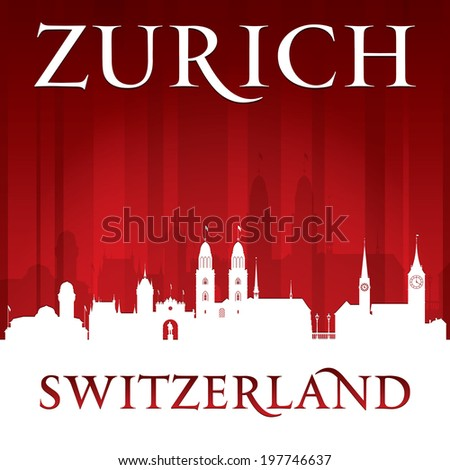 Zurich Switzerland city skyline silhouette. Vector illustration - stock vector